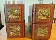 Four Ornate Oak Drawers And Brackets From Antique Treadle Sewing Machine