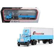 Mack R Model With 28' Pop Trailer Tc Transcon 1/64 Diecast Model Car By Firs...