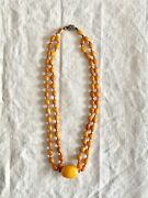 Antqiue Chinese Baltic Amber Butterscotch Necklace Silver Clasp 30 Gr Circa1800