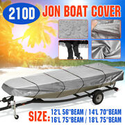 For 12and039 / 14and039 / 16and039 / 18and039l Jon Boat Cover 210d Waterproof Sun Protection Gray Us
