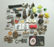 Junk Drawer Lot Toys Hooks Scissors Paris Nail Clipper Keychains Cats Ring Frog