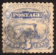 1869 Us 3c Pictorial Issue Without Grill Used Multiple Plate Flaws Sc 114a