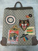 Courrier Soft Drawstring Backpack Gg Coated Canvas With Applique Medium