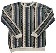 Vintage 90and039s Bachrach Cosby Biggie Hip Hop Coogi Style Cotton 3d Sweater Mens Xl