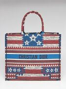 Christian Dior Red/white/blue American Flag Canvas Book Tote Bag
