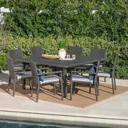 Gaston Outdoor 9-piece Square Wicker Dining Set With