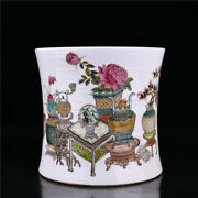 Chinese Vintage Famille Rose Porcelain Exquisite Brush Pot Collectibles Study
