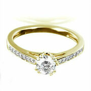 Solitaire And Accents Diamond Ring 14 Kt Yellow Gold Lady 8 Prong Size 5.5 6.5 7 9
