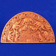Elephant Horse Animals Ornament Wood Carved Plaque Wall Hanging Art Home Decor