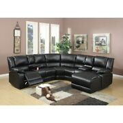 Bonded Leather 5 Pieces Reclining Sectional In Black Black Americana