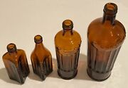 Rare Odd Shaped Tippers Animal Medicines Brown Amber Glass Poison Bottle Set