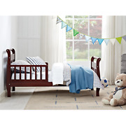 Sleigh Wood Toddler Bed With Safety Rails Cherry Solid For Baby Babies Children