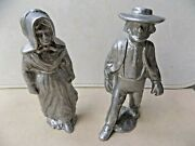 5h Pewter Pair Of Colonial Figures John Alden And Priscilla Mullins.