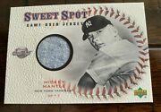 2 Cards 2001 Sweet Spot Game Used Bat And Game Used Jersey Cards Mickey Mantle