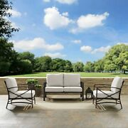 Kaplan 3 Pc Outdoor Seating Set With Oatmeal Cushion - Oil Rubbed Bronze 137w X