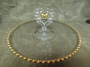 Circa 1950's Imperial Glass Candlewick Gold Bead Sandwich Tray Floral Berry Cut