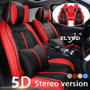 Luxury Pu Leather Car Seats Cover For 5-seats Suv Truck Auto Non-slip Cushion Us