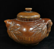 Chinese Ancient Qing Dynasty Qianlong Period Ox Horn Ornament Hand Carved Teapot