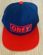 Obey Snapback Hat Blue And Red Preowned