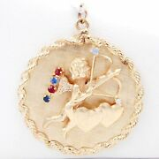 Vintage Large Disc Charm W/ Cupid With Bow And Arrow Double Heart Gemstones