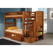 Donco Kids Honey Tall Twin-over-twin Mission Stairway Bunk Honey Twin Over Twin