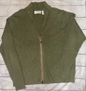 Orvis Sz Xxl Zip Up Sweater 100 Cashmere Menand039s Long Sleeve Olive