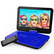 10 Dvd Player 5 Hours Rechargeable Battery Swivel Screen 1.8m Car Charger Blue
