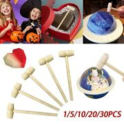 30x Mini Wooden Hammer Mallets Small Tool Carving Hammer Baby Flat Head Toy Diy