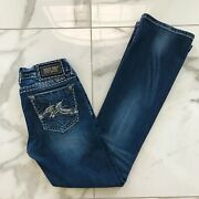 Miss Me Buckle Embroidered Rhinestone Pocket Boot Cut Jeans 28
