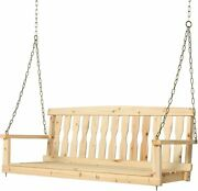 2 Seater Wooden Porch Swing Patio Swing Chair Bench With Hanging Chains In/outd