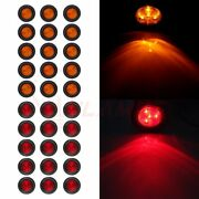 30- Amber Red Round 2.5 4 Led Clearance Side Marker Lights Trailer Tail Lamps