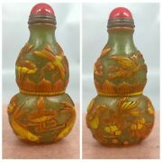 Vintage Chineseandnbspsnuff Bottle Yellow Carved Glass Bottles Carving Fish Statue Fu