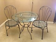 Ethan Allen Bistro Dining Table With 30 Glass Top 2 Bistro Chairs - Silver