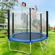 8ft Trampoline With Safety Net Enclosure Light Outdoor Backyard Play Garden Toys