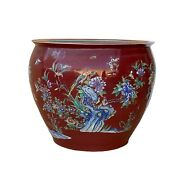 Chinese Oriental Vintage Porcelain Red Flower Birds Graphic Pot Ws1601