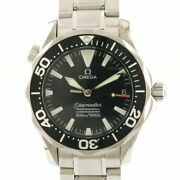 Omega Ss Wristwatch 300m Seamaster 2252.5 Silver Black Mens Itand039s Cool. Gift