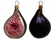Slice Of Fig Fruit Polish Blown Glass Christmas Ornament Set Of 2 Decorations