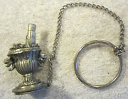 Vintage Pewter Heavy Champagne Bottle In Ice Bucket,chain Keychain,ripo