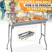 Folding Portable Charcoal Barbecue Bbq Grill Outdoor Camping Stainless Steel Us