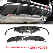2x Front And Rear Skid Plate Fits For Porsche Macan 2014-2021 Real Carbon Fiber