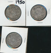 Canada - 1950 Silver Half Dollars - Lot Of 3 Coins