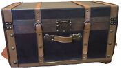 Victorian Antique Vintage Wooden And Metal Bound Flat Top Steamer Travel Trunk