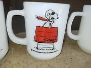 Vtg Lot 5 Fire King Snoopy Mugs Curse You Red Baron Rare Mint Cond. Ship To 🇯🇵
