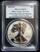 2012 S Reverse Proof Silver Eagle From 75th Ann. Sf Mint Set Pcgs Pr 70 Sp143