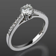 Solitaire Accented Diamond Ring Vvs 8 Prong 1 Ct Natural 18k White Gold Women