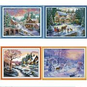 Snowscape Scenery Diy Cross Stitch Needlework Counted Embroidery Handmade Paint