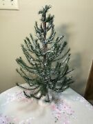 Vintage Tabletop Faux German Feather Tree W/ Wooden Base Christmas Holiday