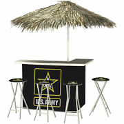 U.s. Army Deluxe Portable Bar Set- Thatched Umbrella And 4 Stools