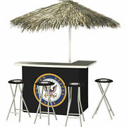 U.s. Navy Deluxe Portable Bar Set- Thatched Umbrella And 4 Stools