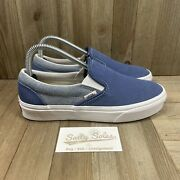 Off The Wall Classic Slip On Blue Canvas Skate Shoes Womens Size 7.5